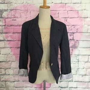 For Cynthia navy linen blazer